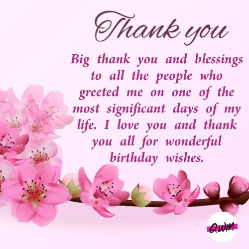 Thank You Note for Birthday Wishes on Facebook