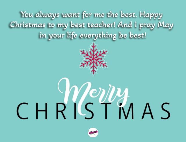 Merry Christmas Greetings For Teacher